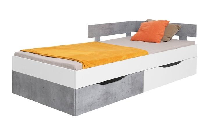 lit blanc 120 x 200 cm avec deux tiroirs alaska blanc
