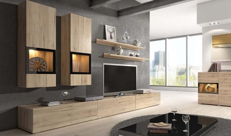 meuble tv avec rangements muraux coloris chene burgos