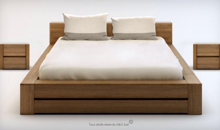 lit bois massif noyer clair avec sommier relevable lounge