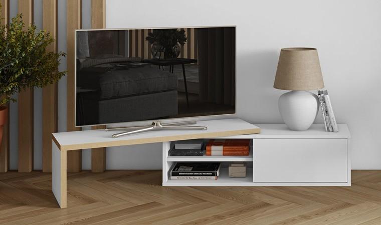 meuble tv extensible blanc mat et polywood move