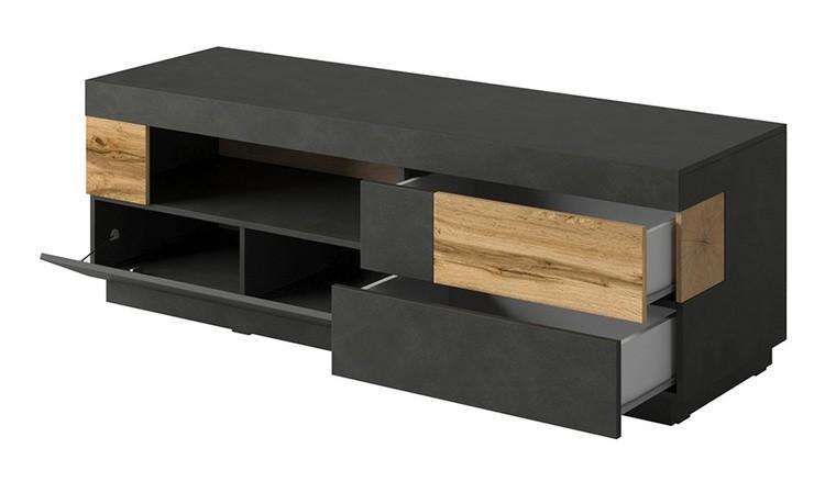 meuble tele noir design 2 tiroirs et 1 porte vigo