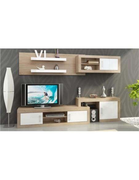 ensemble meuble tv mural notti a chene et blanc