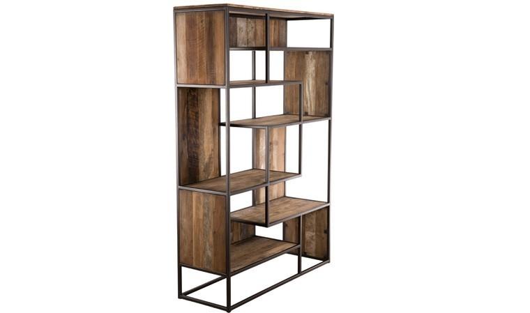 bibliotheque industrielle bois recycle et metal thekku