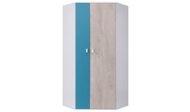 armoire dressing angle blanc et bleu neptune