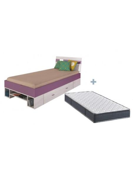 pack lit ado sureleve avec rangements matelas joy violet