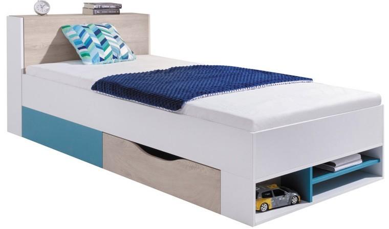 lit enfant blanc et bleu avec rangements 90 x 200 cm neptune
