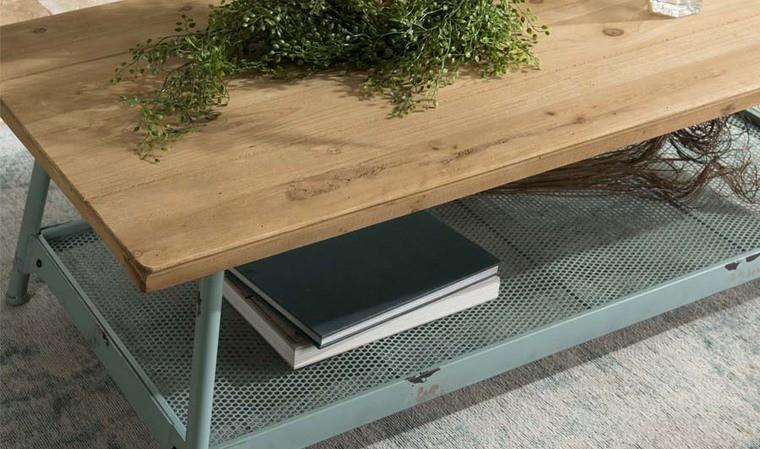 table basse design sapin et metal bleu irina