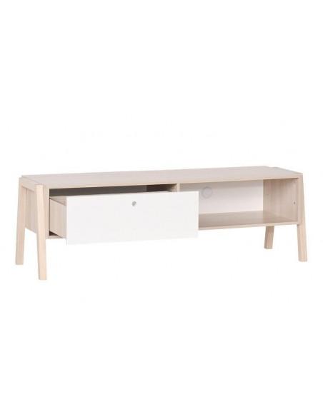 meuble tv design en bois acacia avec tiroir spot