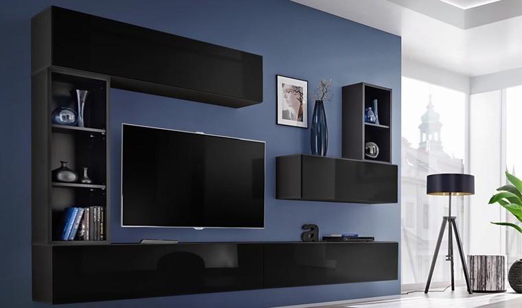 ensemble meuble tv mural noir brescia i