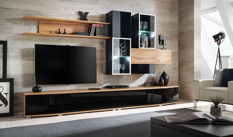 ensemble mural meuble tv noir brillant broadway