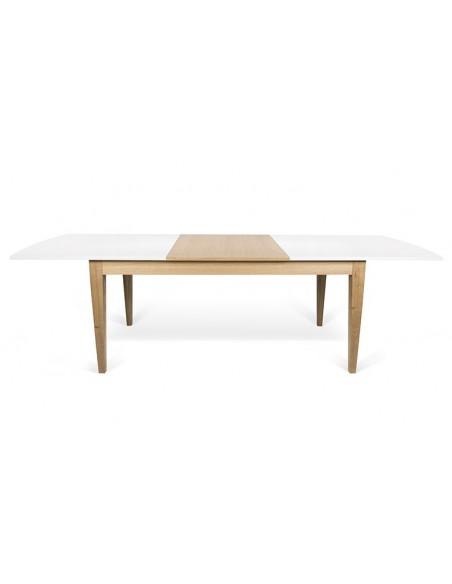 table scandinave extensible blanche et chene niche
