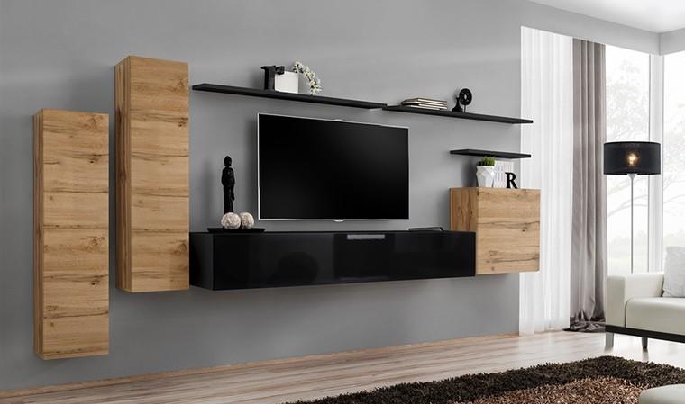 meuble tv mural minimaliste coloris chene et noir palerme i