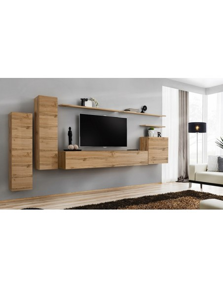meuble tv mural minimaliste couleur chene palerme i