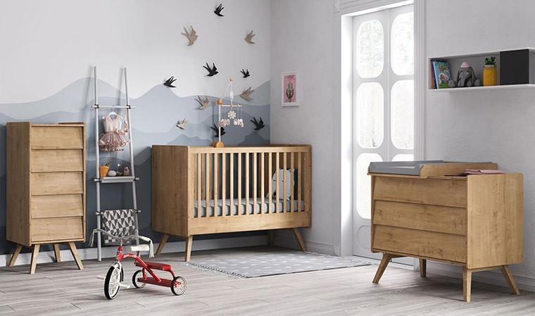 lit a barreaux bebe 60 x 120 cm couleur chene vintage vox