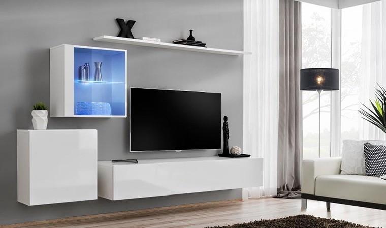 meuble tv complet mural blanc palerme xv