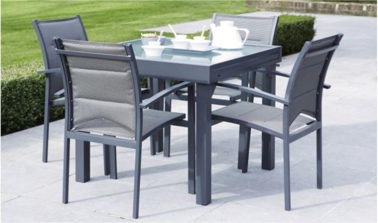 salon jardin extensible gris anthracite 4 fauteuils modulo