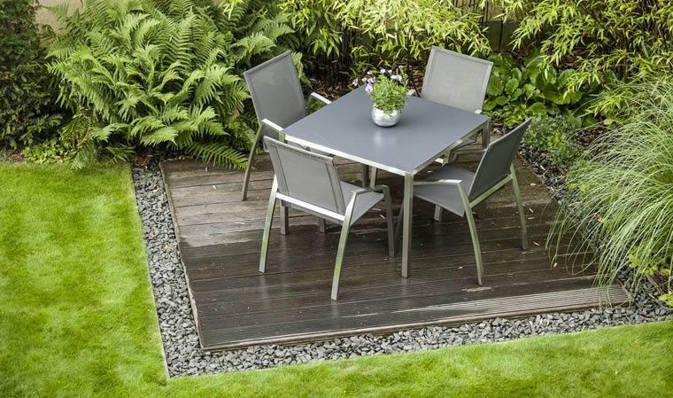 table de jardin en inox brosse plateau ceramique puro
