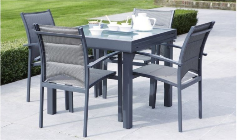 table jardin gris anthracite 4 8 places avec rallonge modulo