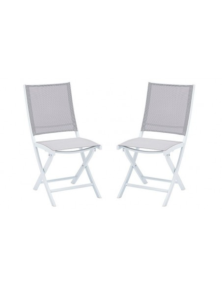 chaise pliante de jardin blanc et grise whitestar