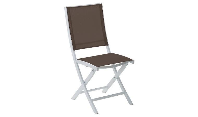 lot chaise jardin pliante blanche chocolat bali