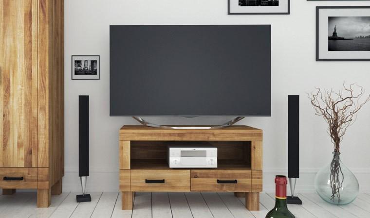 petit meuble tv 2 tiroirs en chene denver