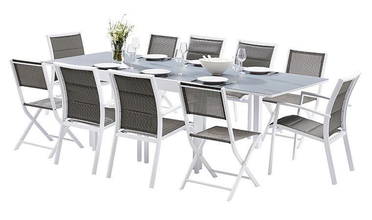 salon de jardin 10 places blanc et gris avec rallonge modulo