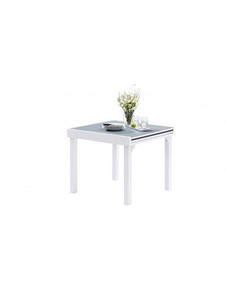 table jardin avec rallonge blanc et gris 4 8 places modulo
