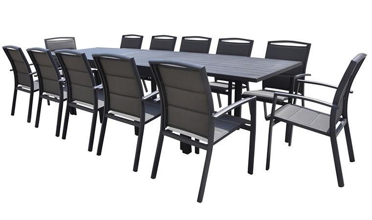 salon jardin extensible alu anthracite 12 fauteuils modulo