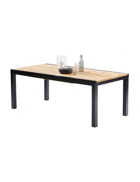 table jardin teck et alu noir 8 12 places avec rallonge bali