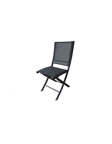 chaise de jardin pliante noire en aluminium et textilene bali
