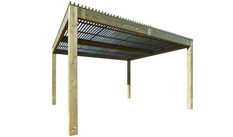 pergola brise soleil en bois 4 x 4 m bergame