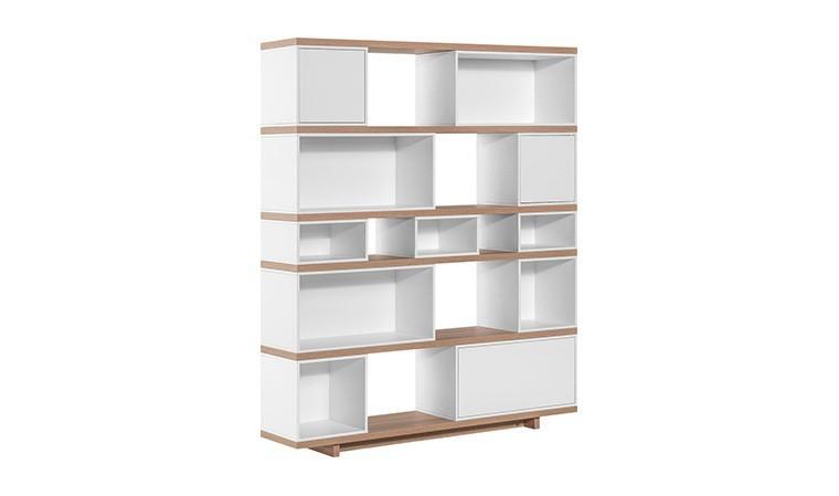 grande bibliotheque couleur chene et blanc balance