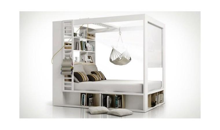 lit a baldaquin blanc avec bibliotheque 160 x 200 4you