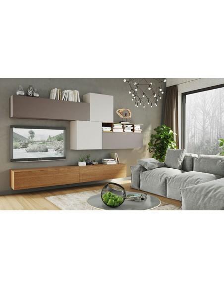 ensemble de meubles salon tv laque bois naturel espace 107