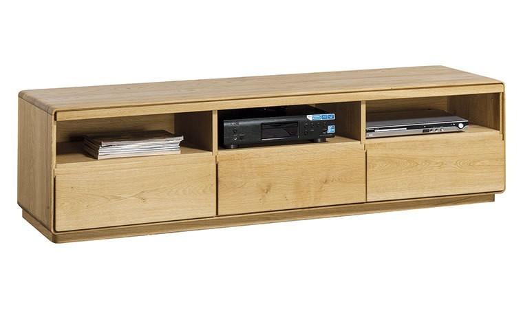 meuble tv haut de gamme placage chene 3 tiroirs atlanta