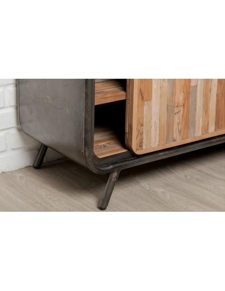 meuble tv teck recycle 2 portes coulissantes fusion