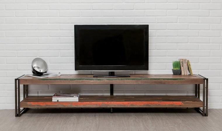 meuble tv long en teck recycle avec sous plateau style indus atelier