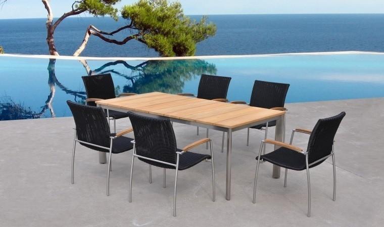 salon de jardin haut de gamme teck table 6 chaises melbourne