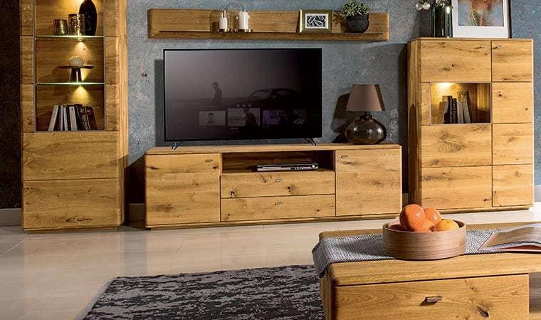 meuble tv en chene massif 180 cm dallas