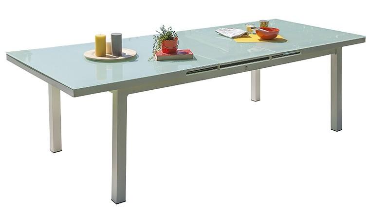 table extensible 180 240 cm alu blanc et verre mykonos