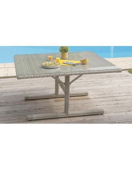 salon jardin encastrable resine tressee grise oceane lunch