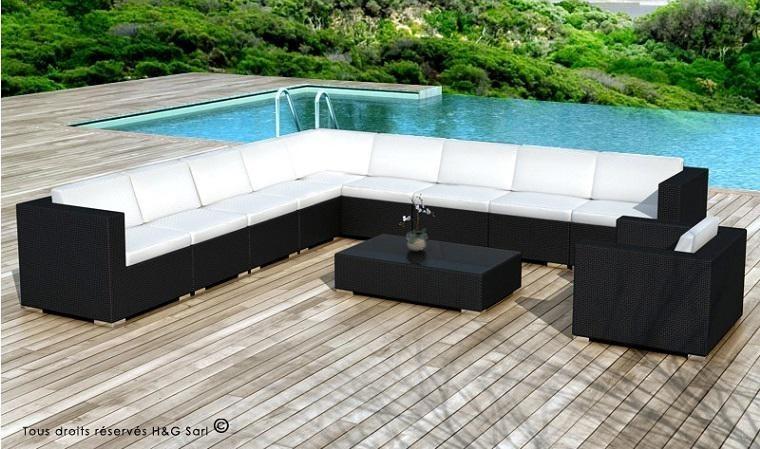salon bas de jardin en resine noire 10 places xxl