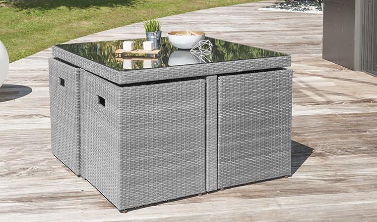salon jardin encastrable resine tressee grise 4 places bahia