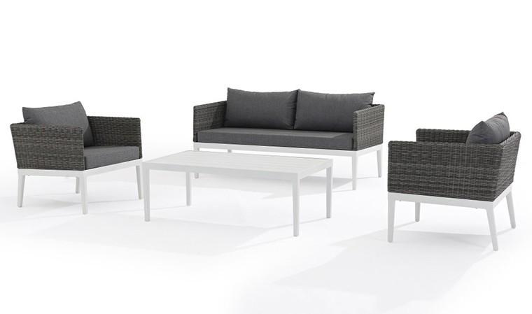 salon bas de jardin design 4 places blanc et gris hendaye