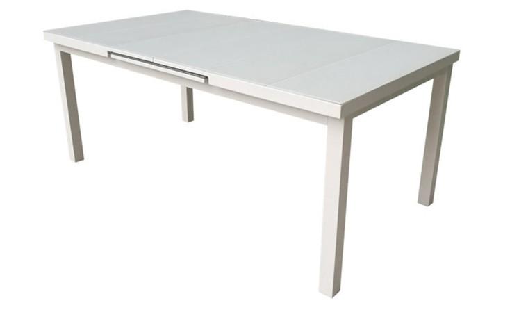 table jardin extensible en alu et verre blanc corte