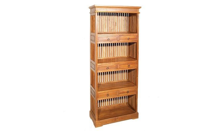 bibliotheque en teck massif 6 tiroirs bengale