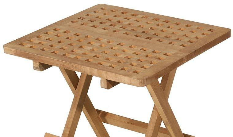 table de jardin carree pliante en teck delhi
