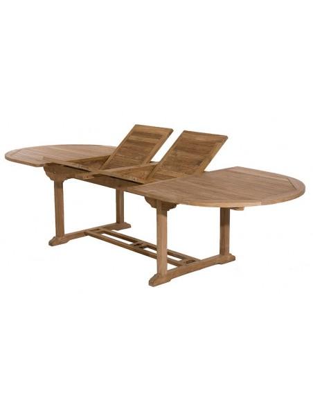 table de jardin ovale en teck extensible 200 300 cm delhi