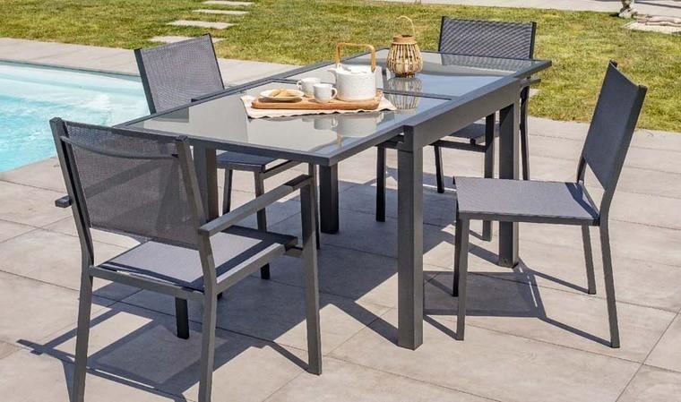 table de jardin rallonge anthracite 4 6 places tolede
