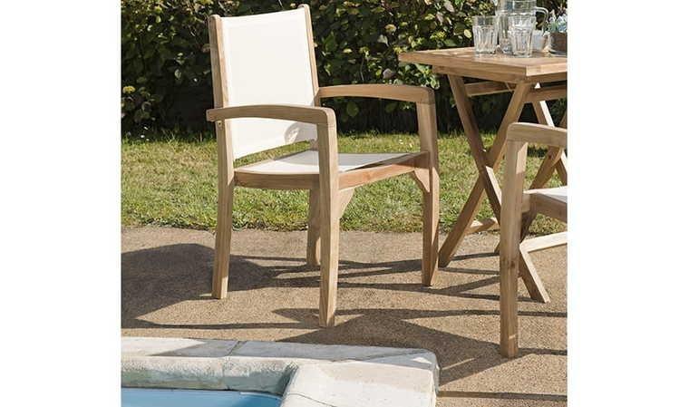salon jardin extensible teck 6 fauteuils ivoire ivory